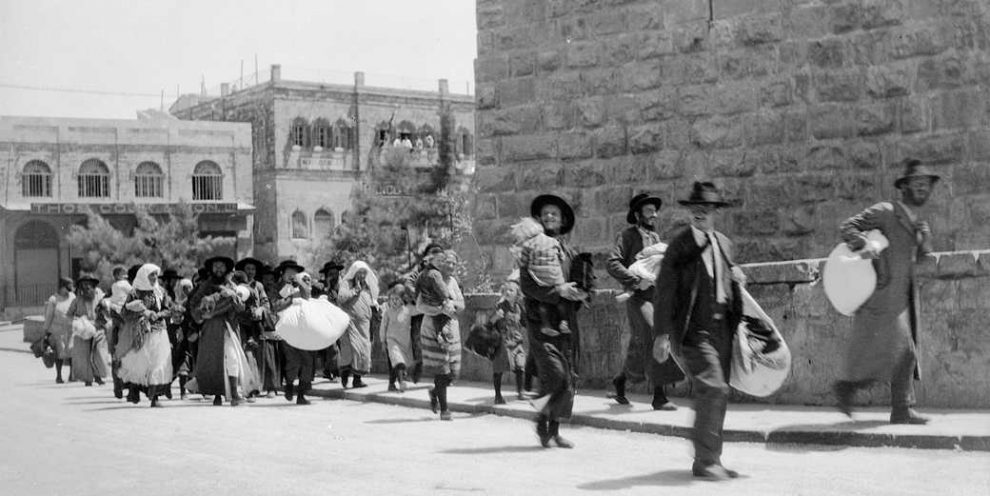Jews flee the Old City of Jerusalem August 1929 990x496