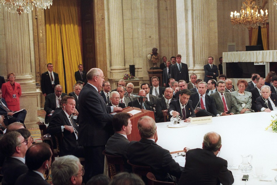 soviet president gorbachev addresses first meeting mideast peace conference madrid